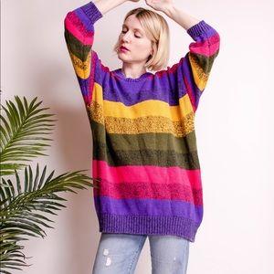 Vintage 80s oversized striped chunky knit sweater
